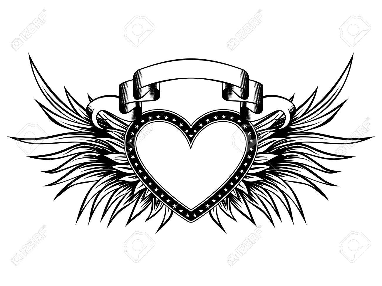 Abstract Vector Illustration Frame Heart With Wings And Banner