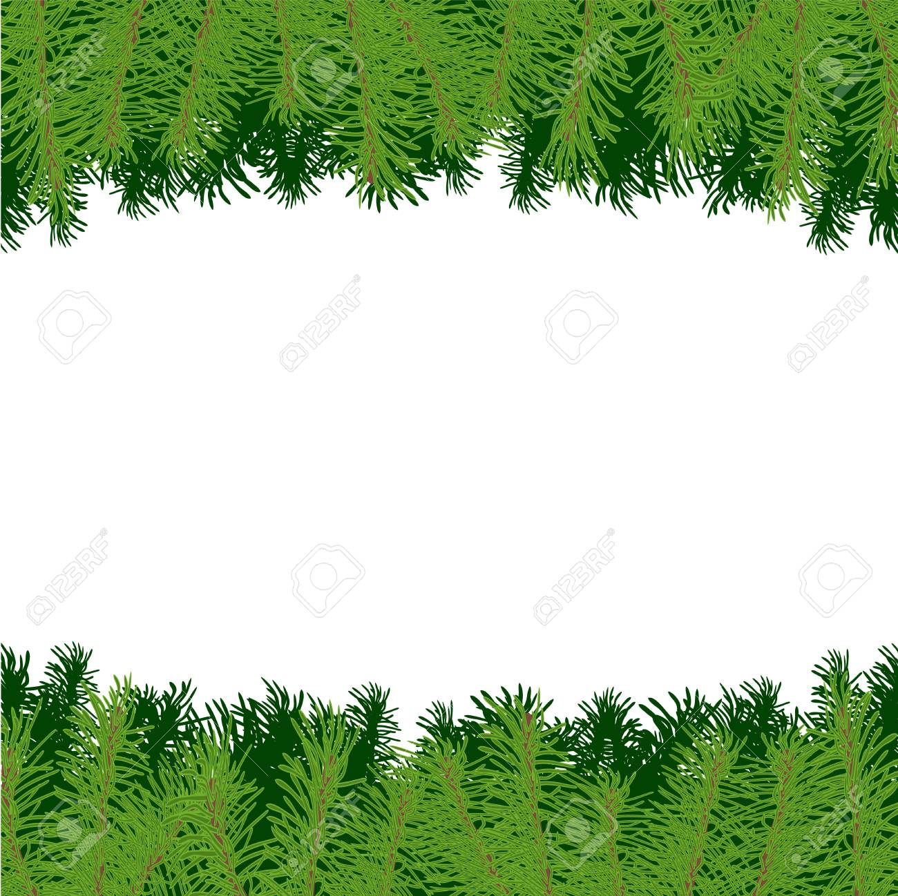 stockfoto vector illustration border or frame with christmas tree branches on white background for design card or poster - Christmas Tree Branches