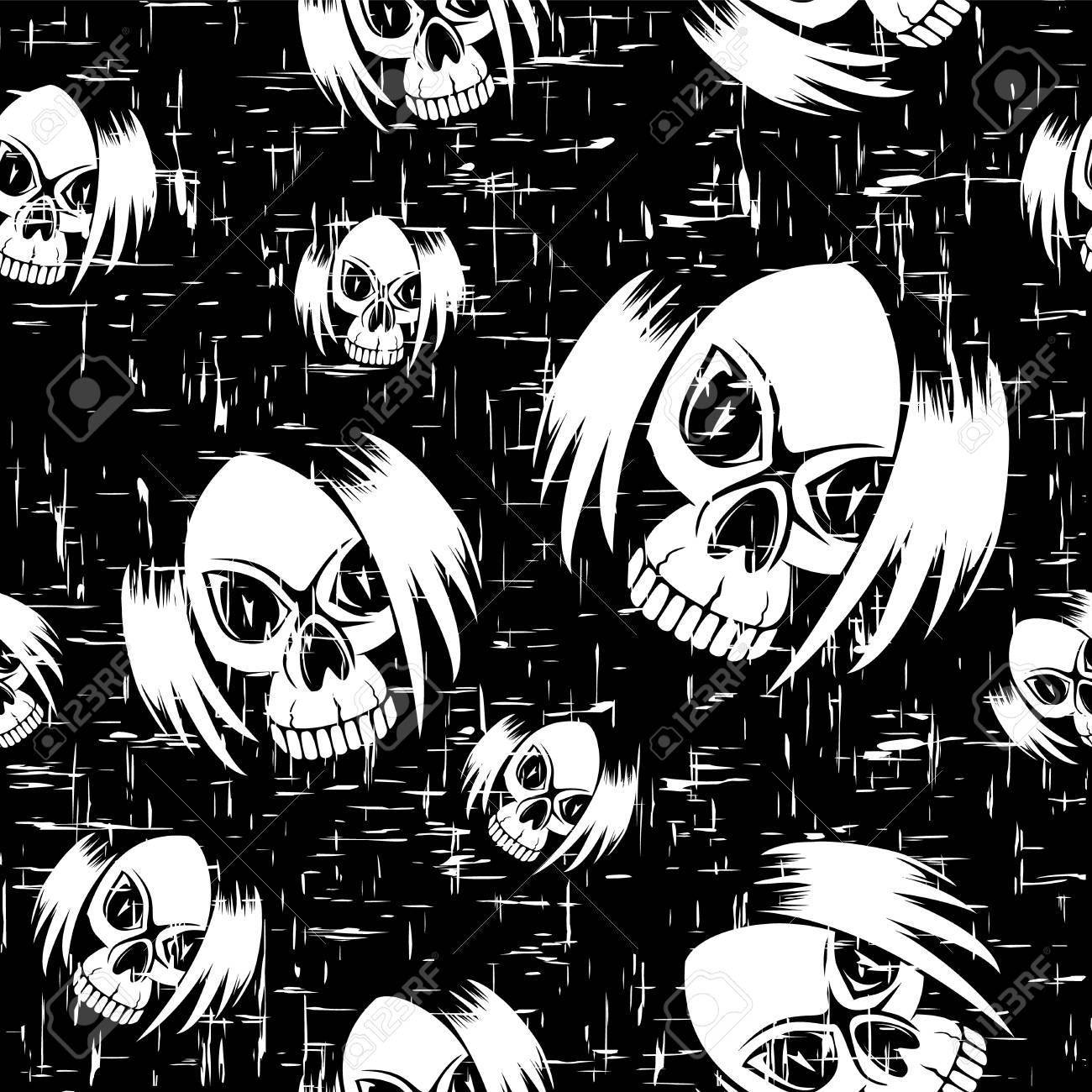 Illustration Vectorielle Rayé Crâne De Fille Emo Noir Dessin Animé Avec Les Cheveux Fond Transparent Pour Créer Un T Shirt Ou Imprimer Sur Du