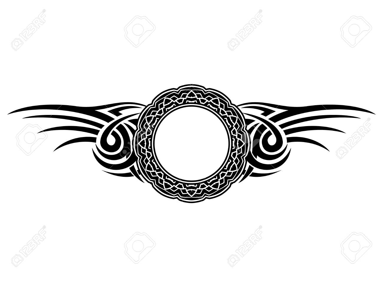 44d67706 Abstract vector illustration black and white round frame and tribal wings .  Design for tattoo or