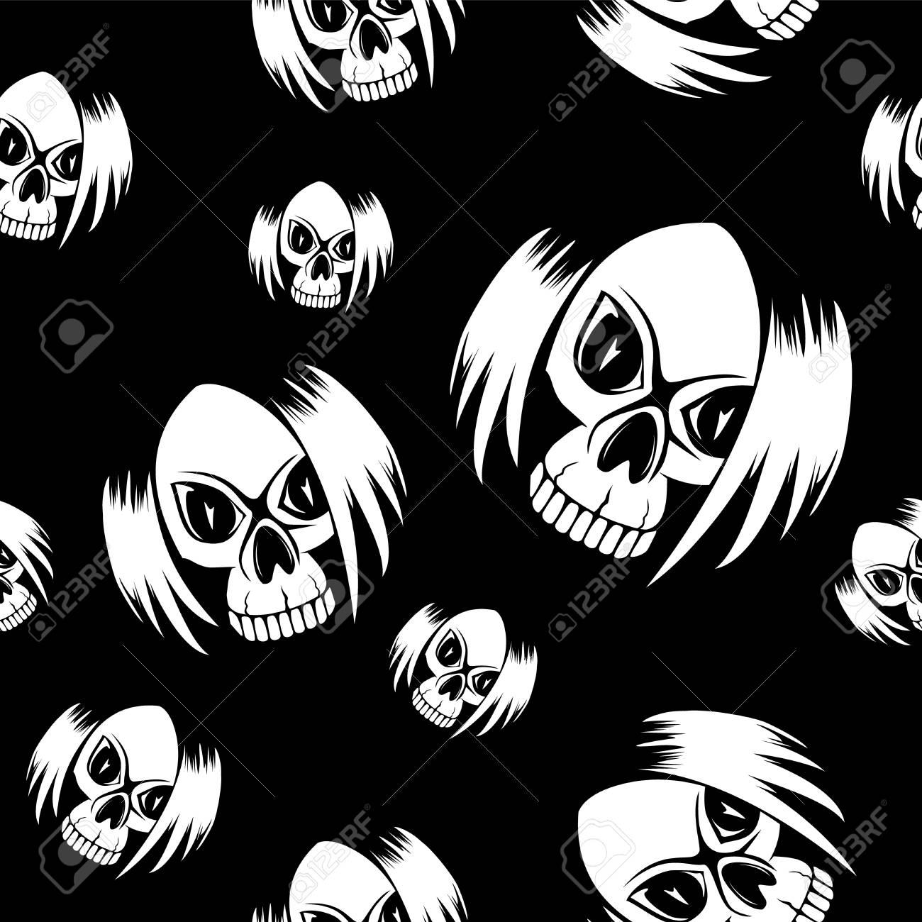 Vector Ilustración De Dibujos Animados Emo Negro Chica Cráneo Con El
