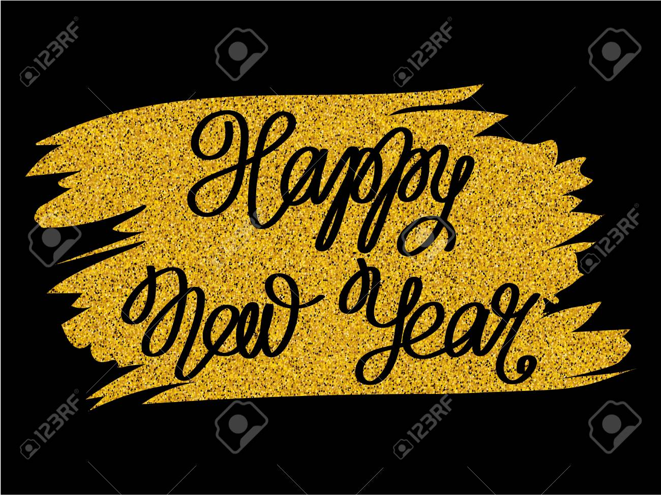 inscription happy new year on golden glitter texture paint stain on black background design for