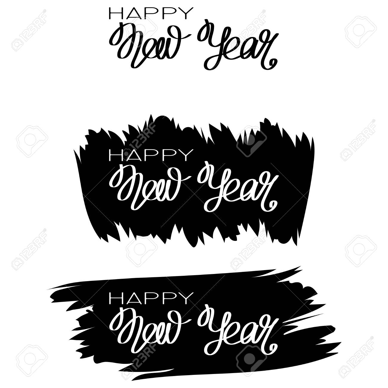 inscription happy new year and 2018 on black paint stain design for greeting card