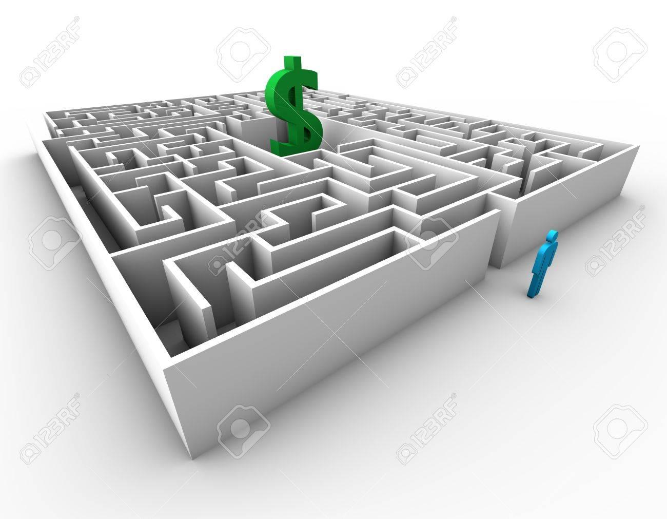 Maze dolar sign blue business man concept design Stock Photo - 13750577