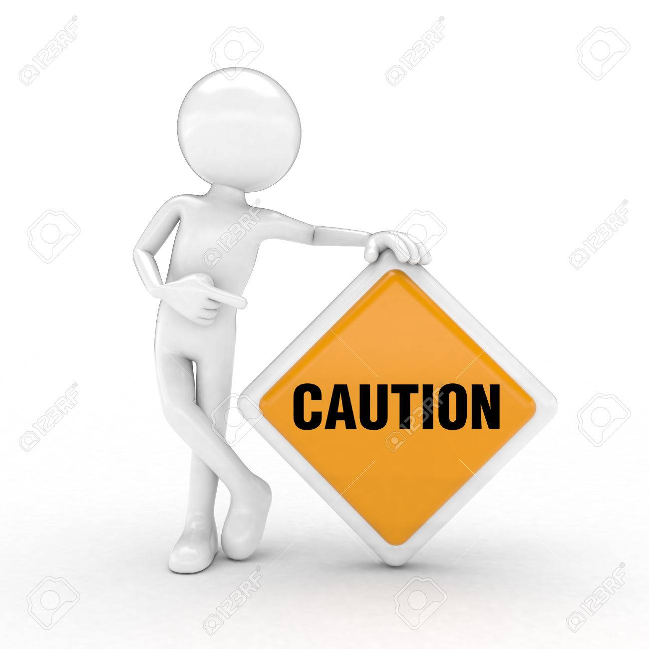 caution text highlighted by the sign and the man with the visual images. Stock Photo - 52743931