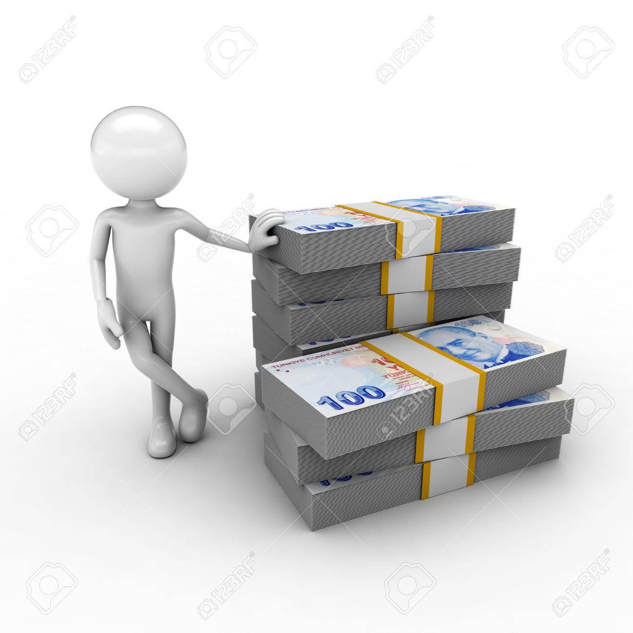 visual describing the economy using monetary and human figures Stock Photo - 57570162