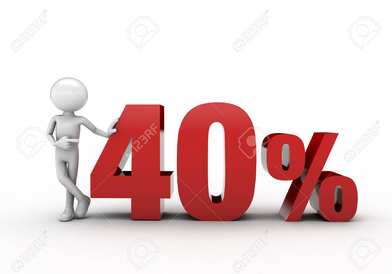 3D character with 40% discount sign Stock Photo - 57570166