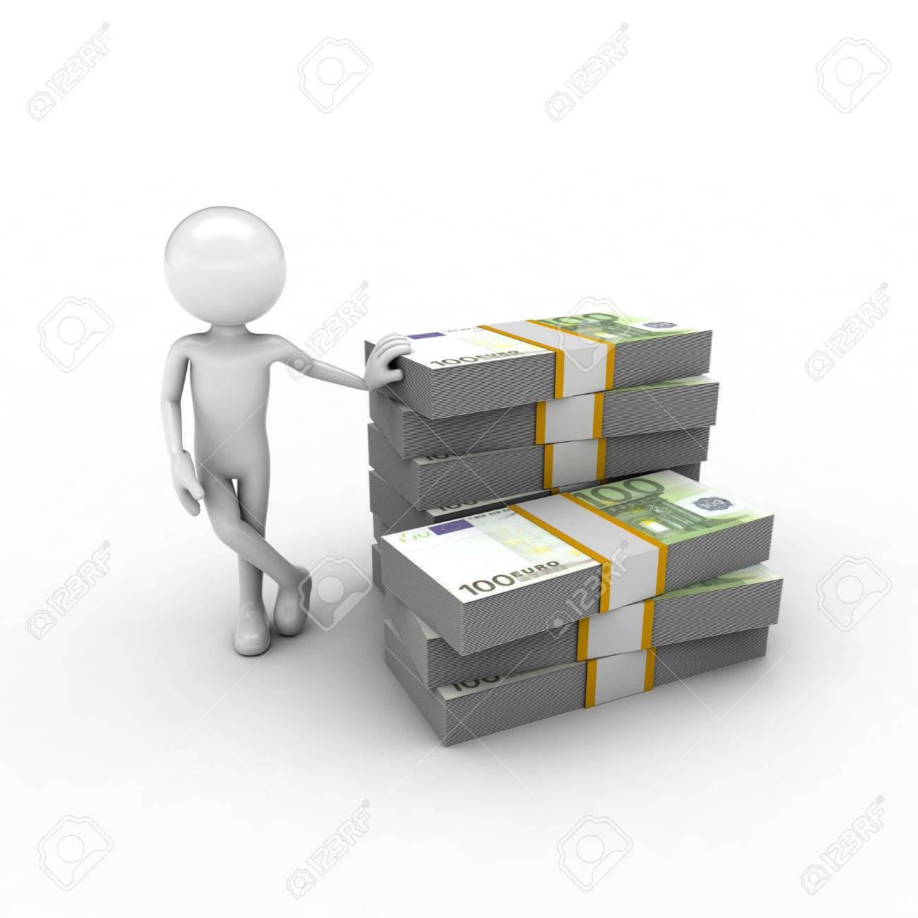 visual describing the economy using monetary and human figures Stock Photo - 57570179