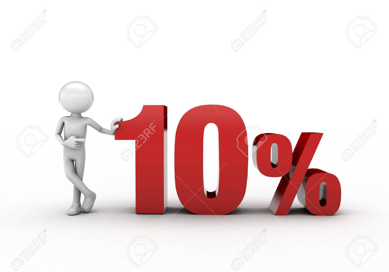 3D character with 10% discount sign Stock Photo - 57570252