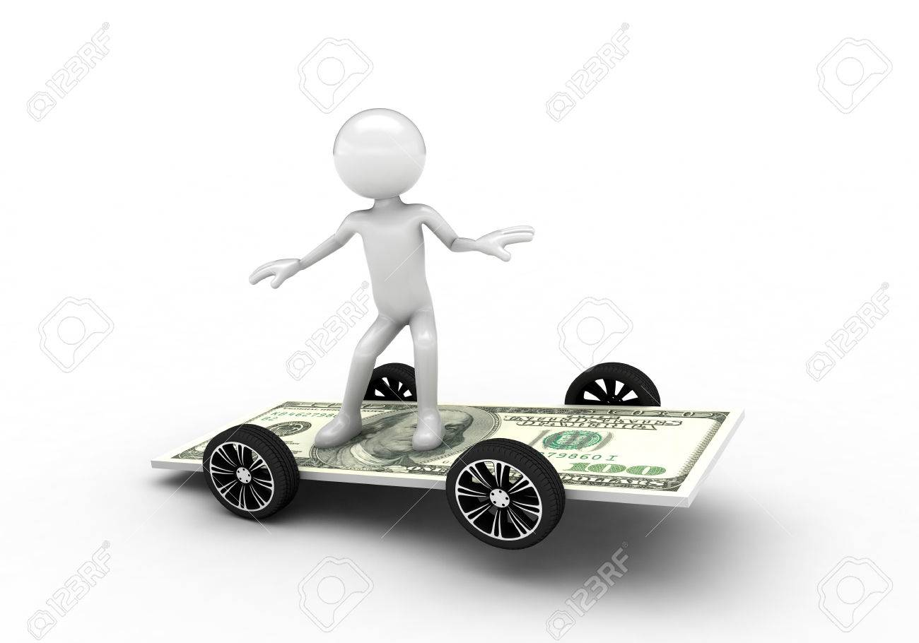 3D person surfing on the one hundred dollar bill. Isolated on white background Stock Photo - 57570261