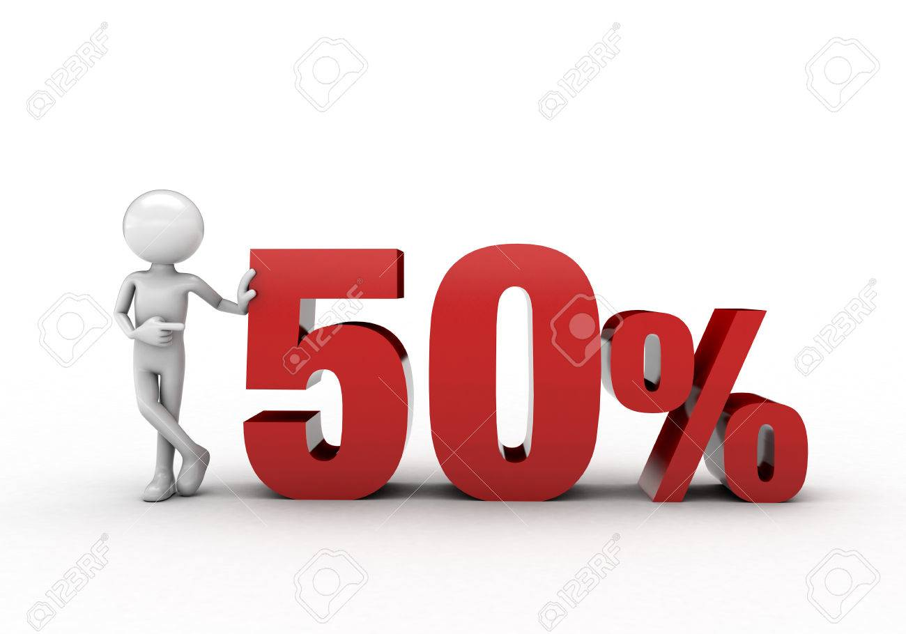 3D character with 50% discount sign Stock Photo - 57570274