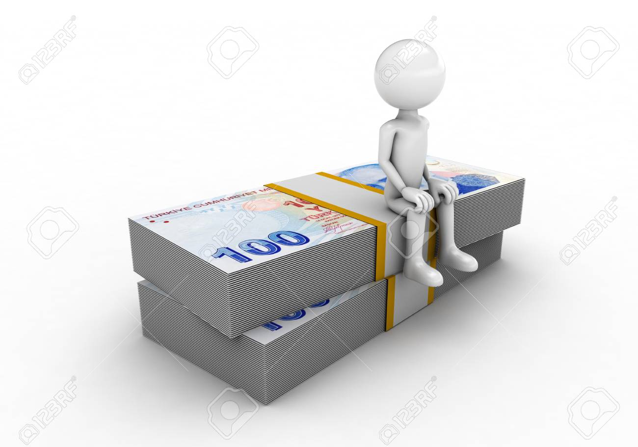 man sitting on top of lira figure on a white background Stock Photo - 57570281
