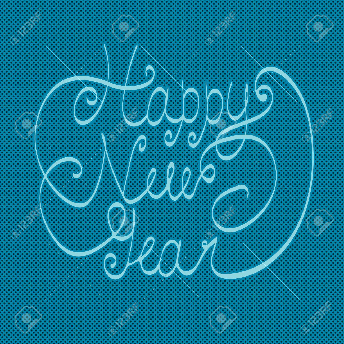 happy new year greeting card hand lettering handmade calligraphy hny logo vector