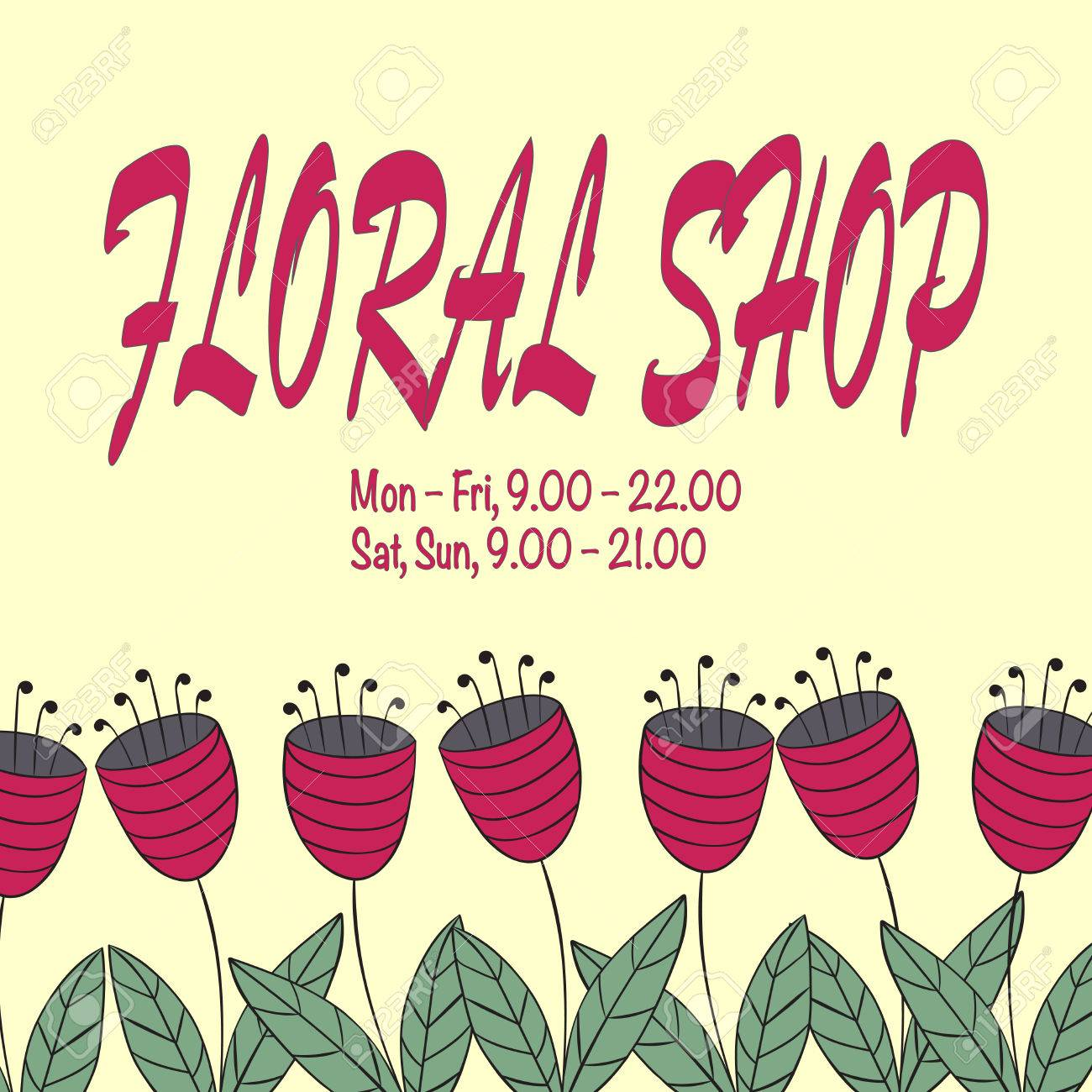 Conception Concept Boutique De Fleurs Ou Un Salon. Simple Et élégant ...