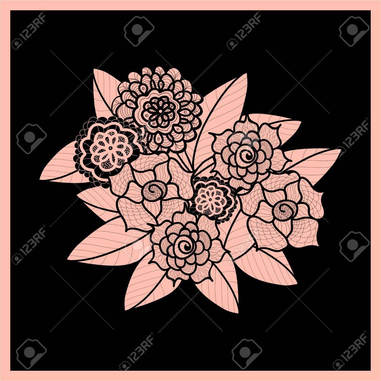 schne gekritzelkunst blumen zentangle muster handkruter design element gezogen floral schwarz und - Zentangle Muster