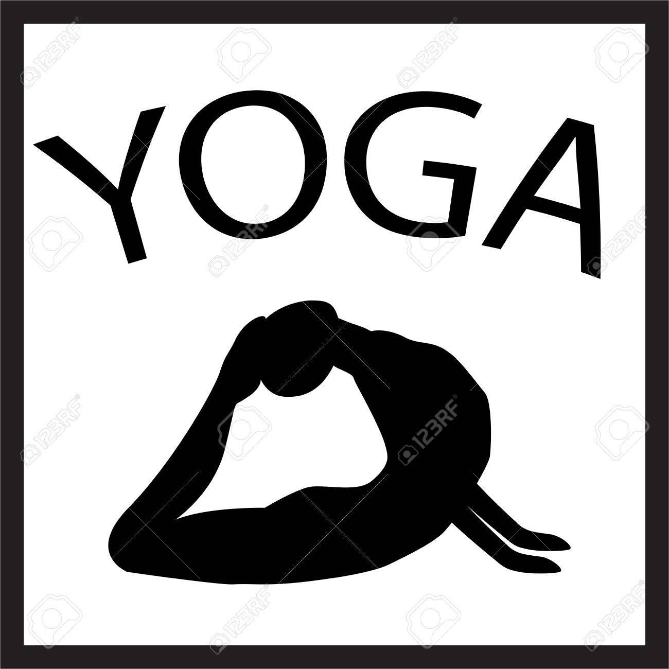 Chica En Posición De Yoga. Silueta Femenina Negro Sobre Fondo Blanco. Vector  Icono De Forma De Mujer. Ilustración De La Yoga. Yogui En Asana. b8da93e1265d