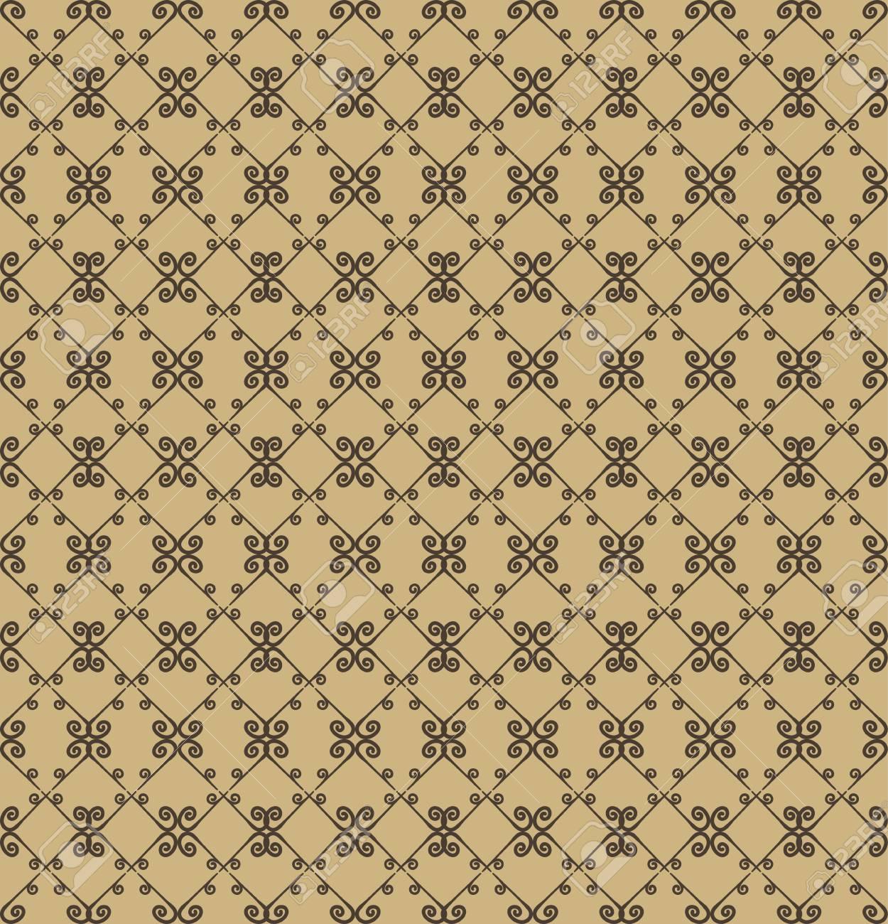 Fantastisch Dekoratives Nahtloses Muster. Beige Und Braune Farben. Endlose Vorlage Für  Tapete, Textil,