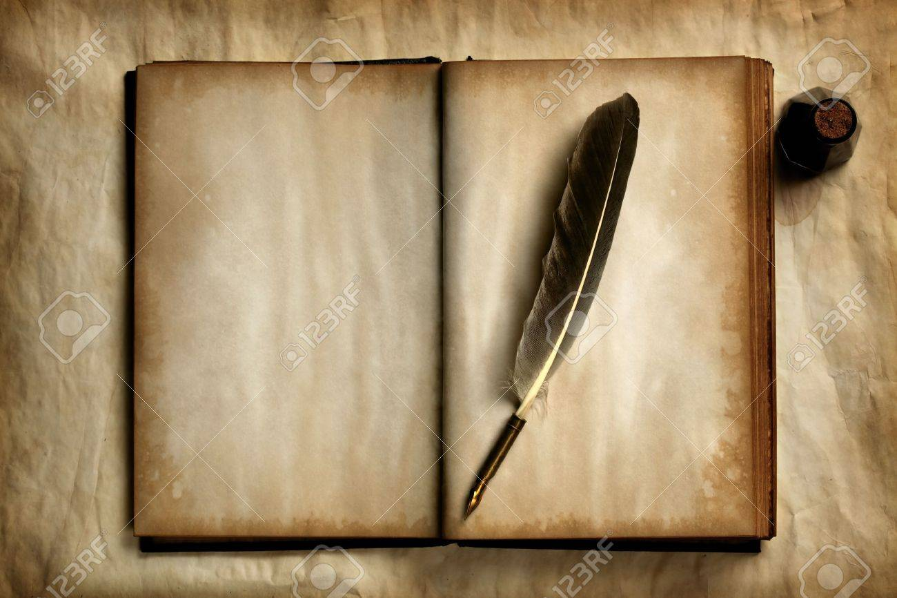 Quill on old blank book Stock Photo - 7698469