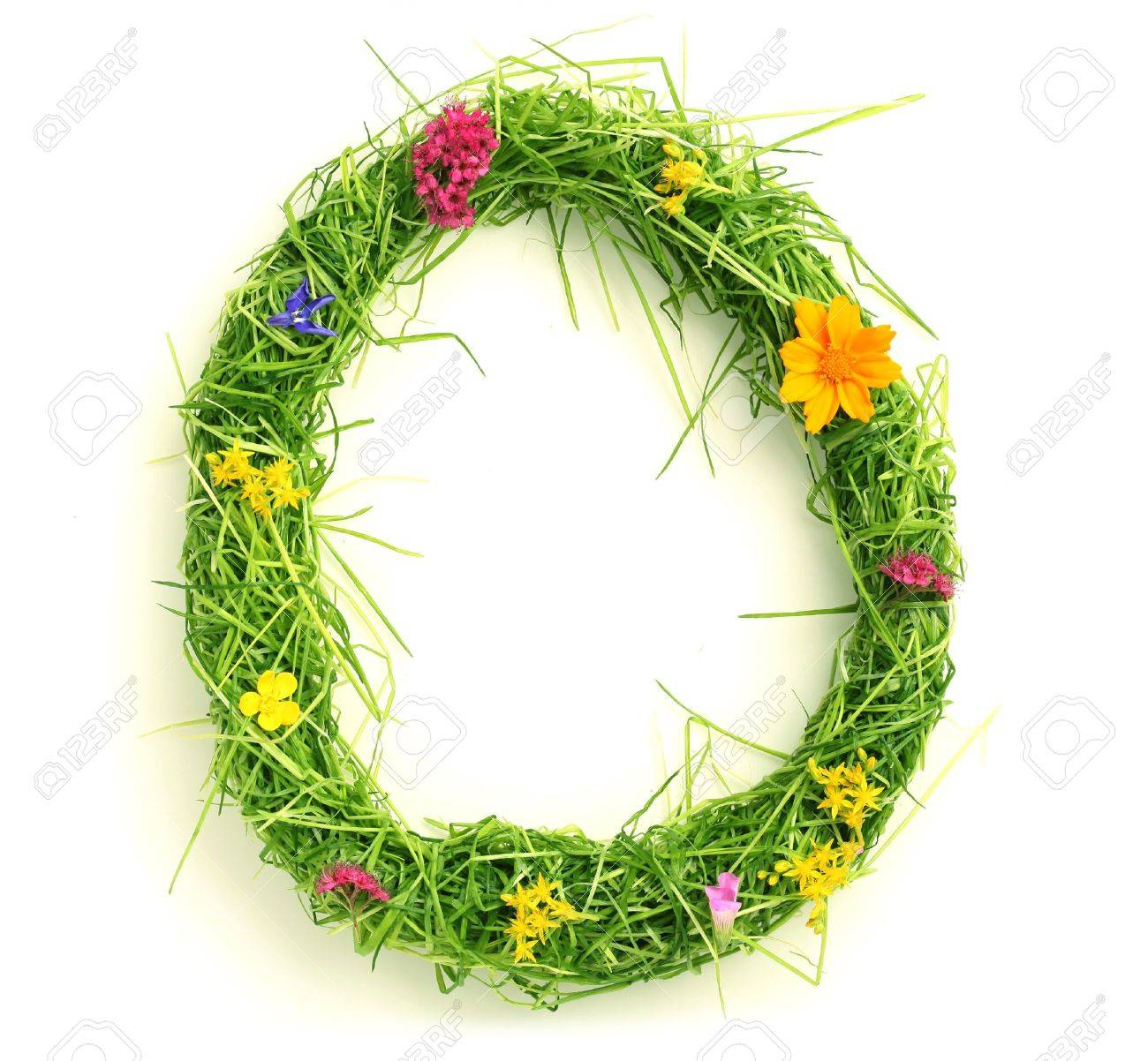 Letters made of flowers and grass isolated on white Stock Photo - 9448127