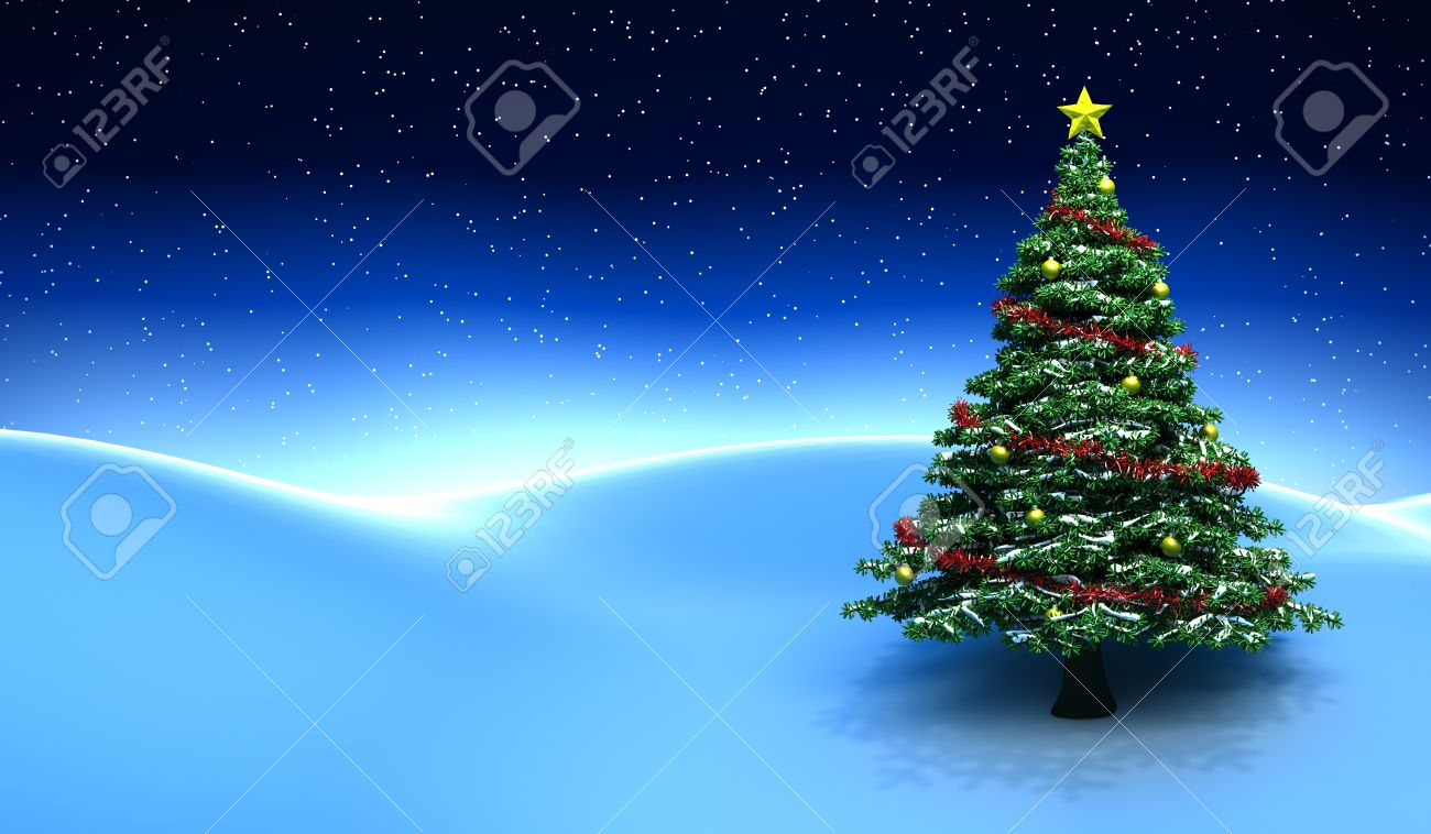 Winter scene with Christmas tree - 3D render - 11375666