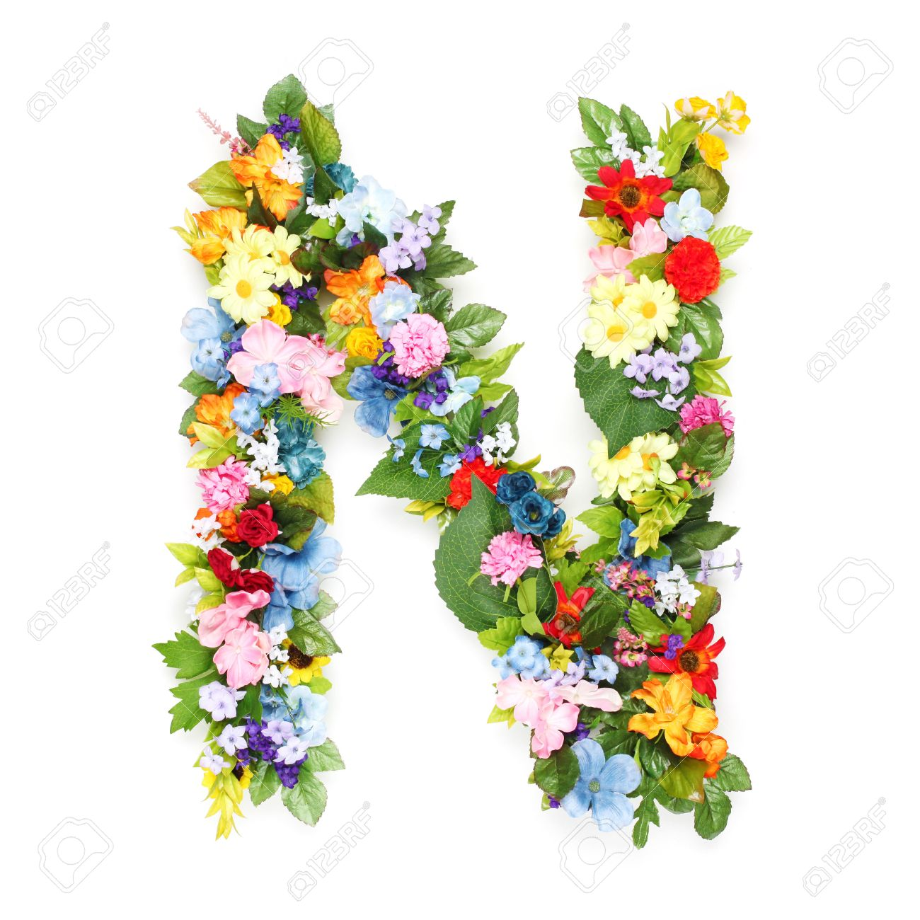 letters made of leaves and flowers stock photo picture and