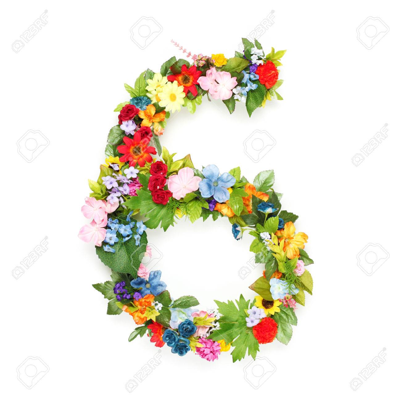 numbers made of leaves and flowers stock photo picture and