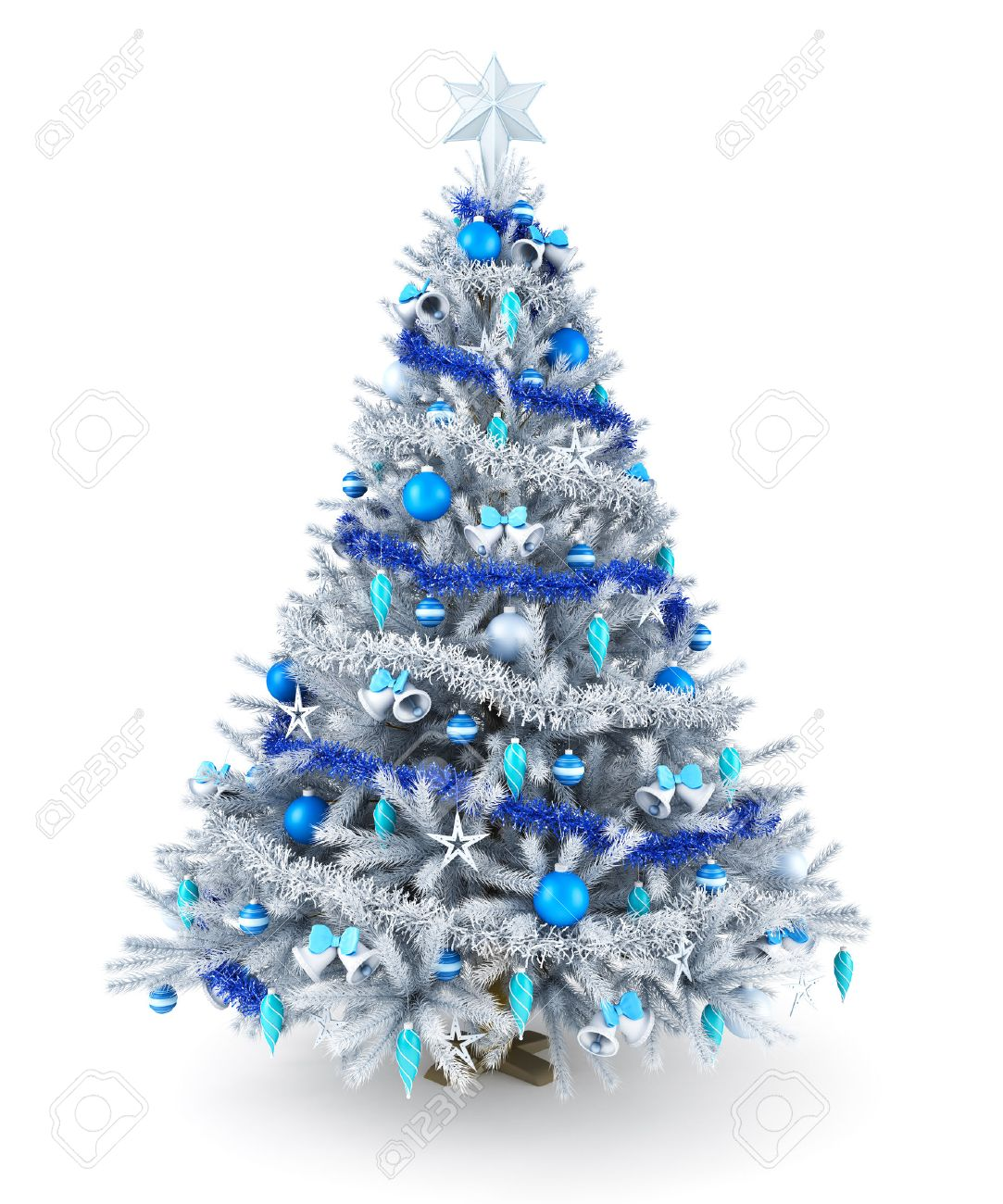 Blue christmas trees decorating ideas - Silver And Blue Christmas Tree Stock Photo 34064877