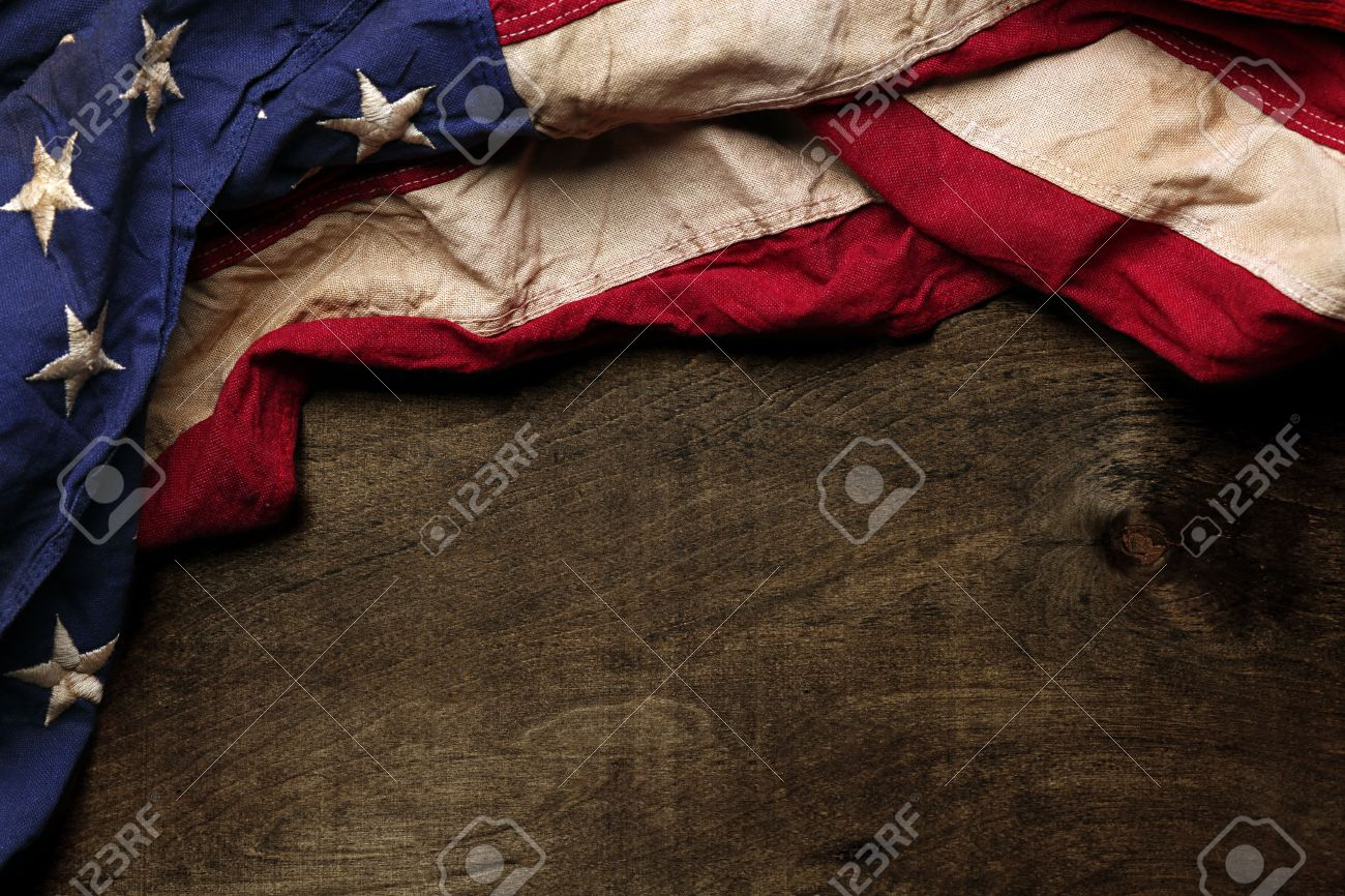 Old American flag background for Memorial Day or 4th of July - 39789255