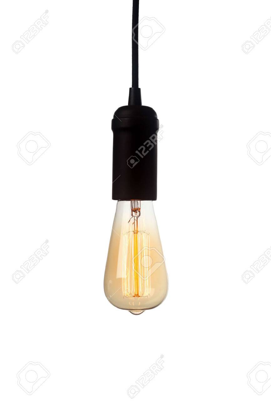 glowing vintage light bulb isolated on white stock photo