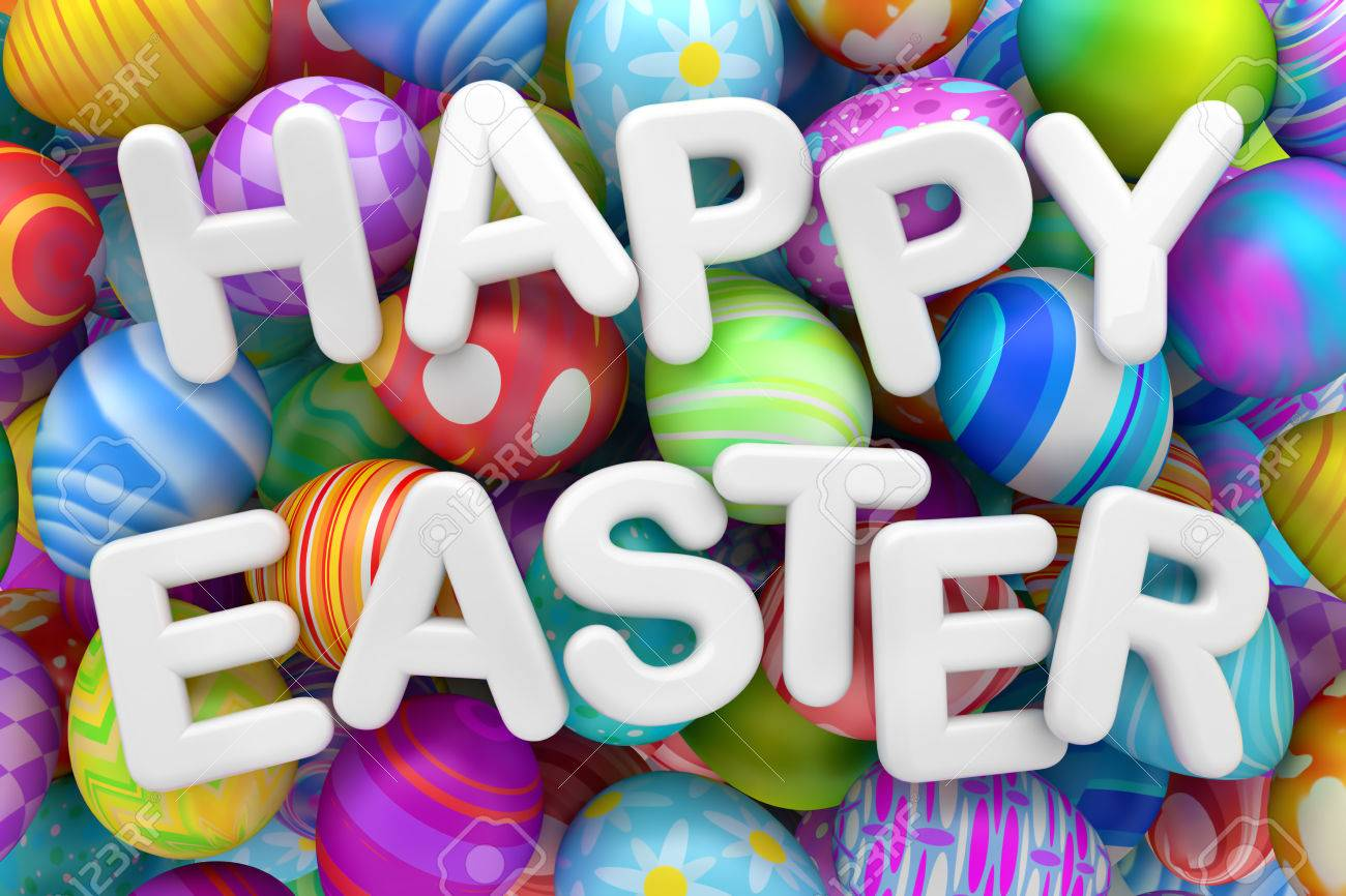 Pile of colorful Easter eggs with Happy Easter - 55116691