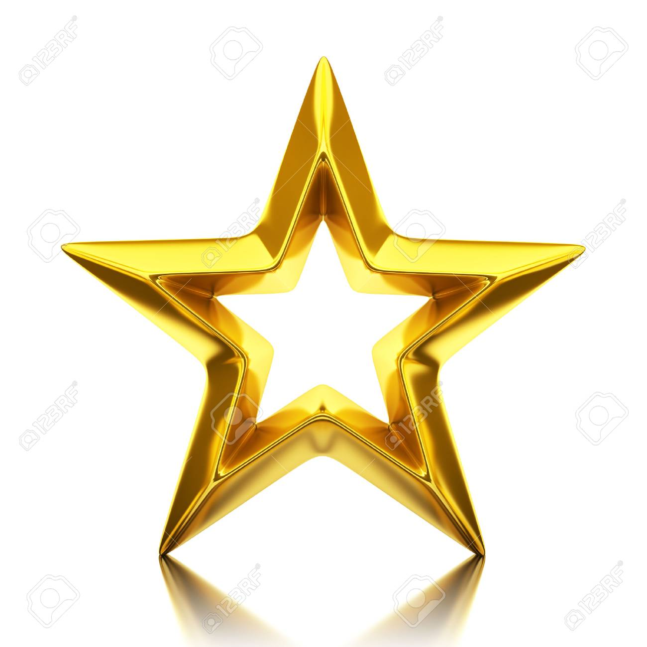 Shiny golden star - 3d rendering - 64899575