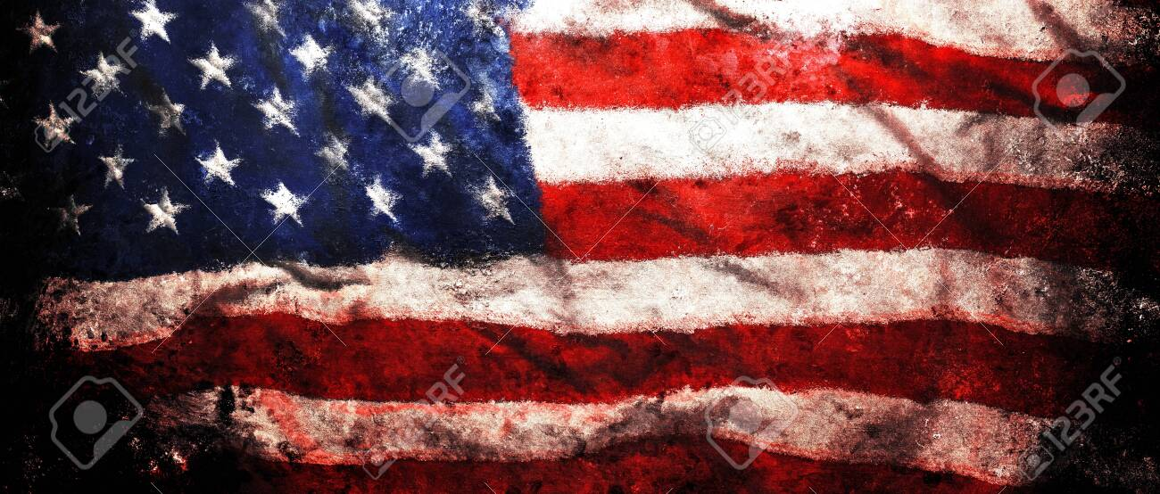 Rough Faded Us American Flag Background Or Patriotic Wallpaper