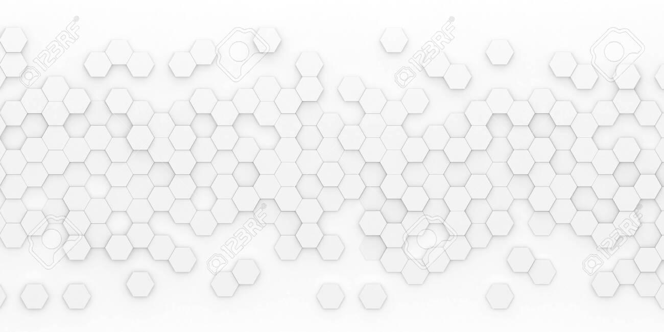 Bright hexagon wallpaper or background - 3d render - 130060342