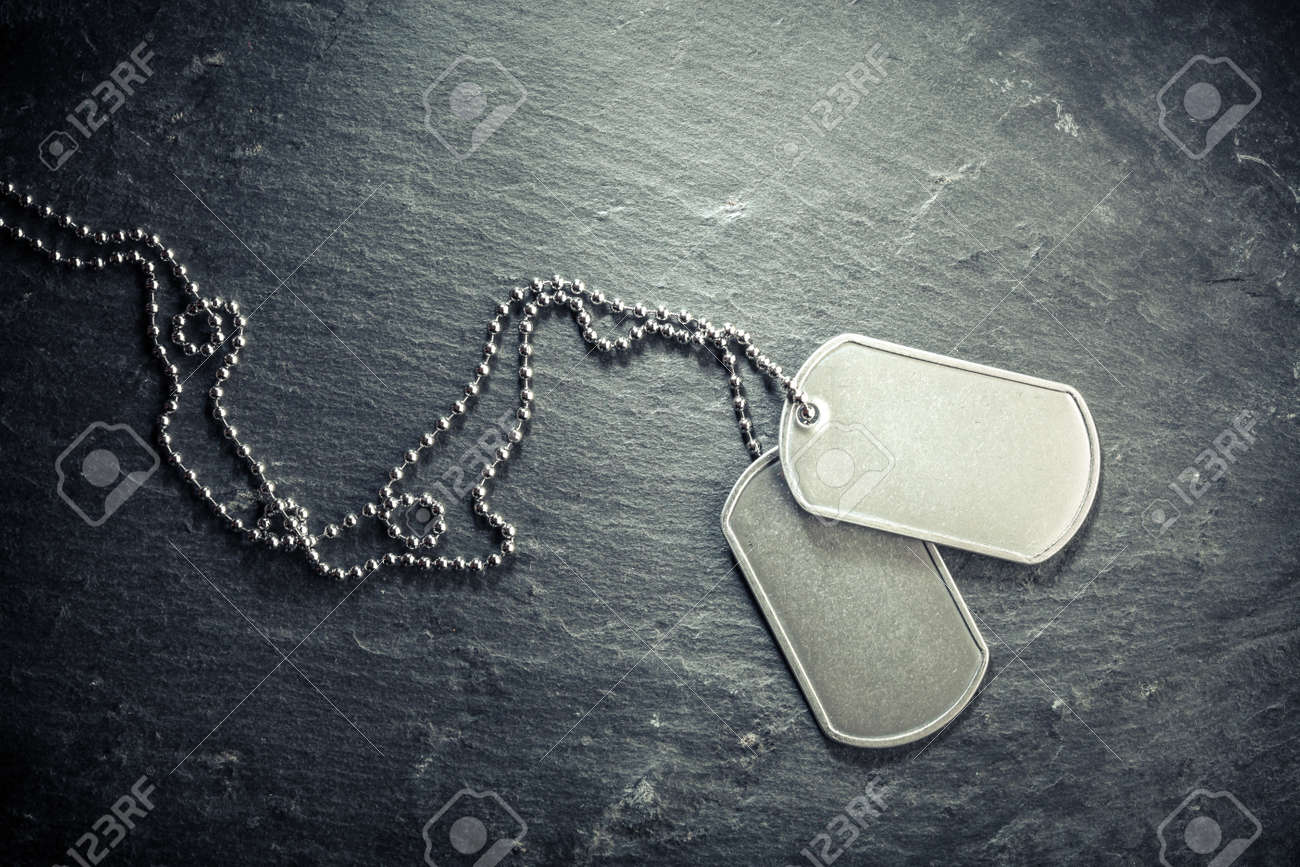 American military dog tags. Rough and worn with blank space for text. Memorial Day or Veterans Day concept. - 158384540