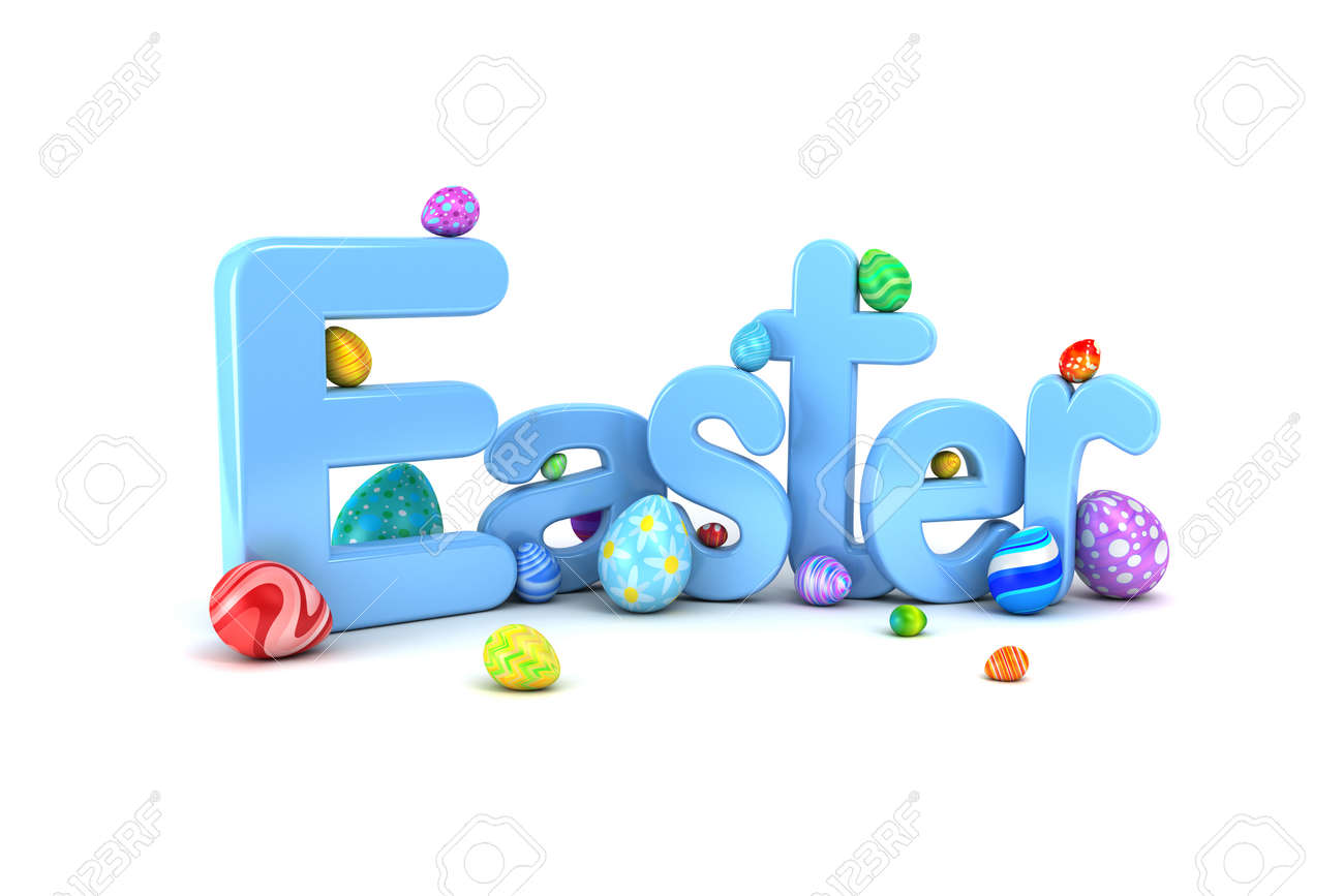 Easter text surrounded by colorful Easter eggs isolated on white - 165173525