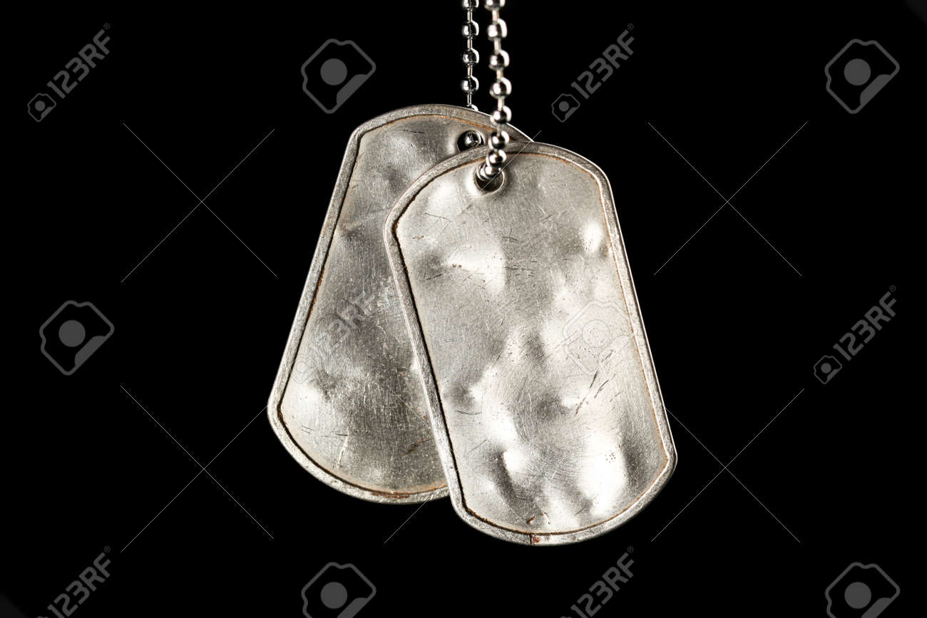 Old and worn blank military dog tags isolated on black - 169060087