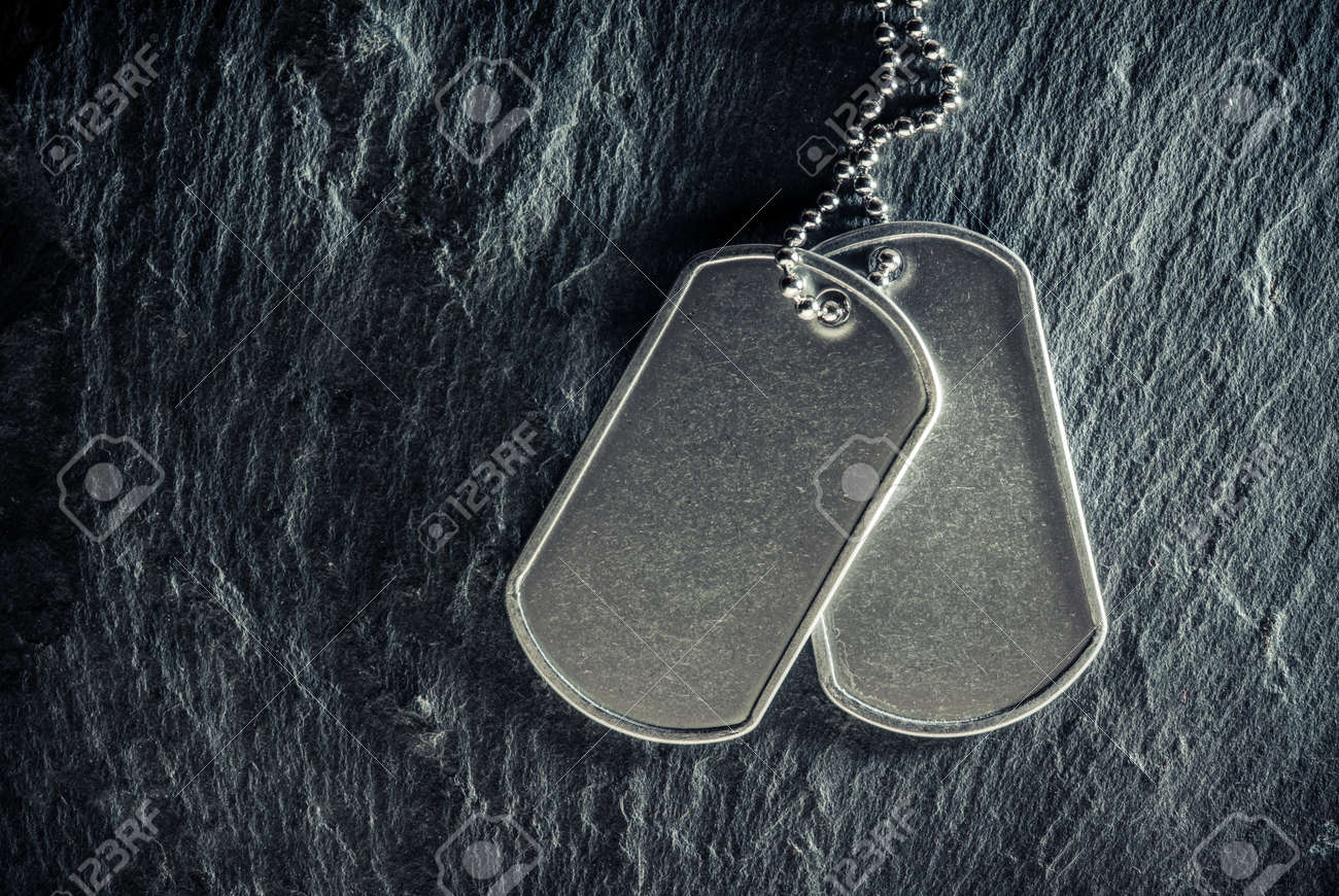 American military dog tags. Rough and worn with blank space for text. Memorial Day or Veterans Day concept. - 169060092