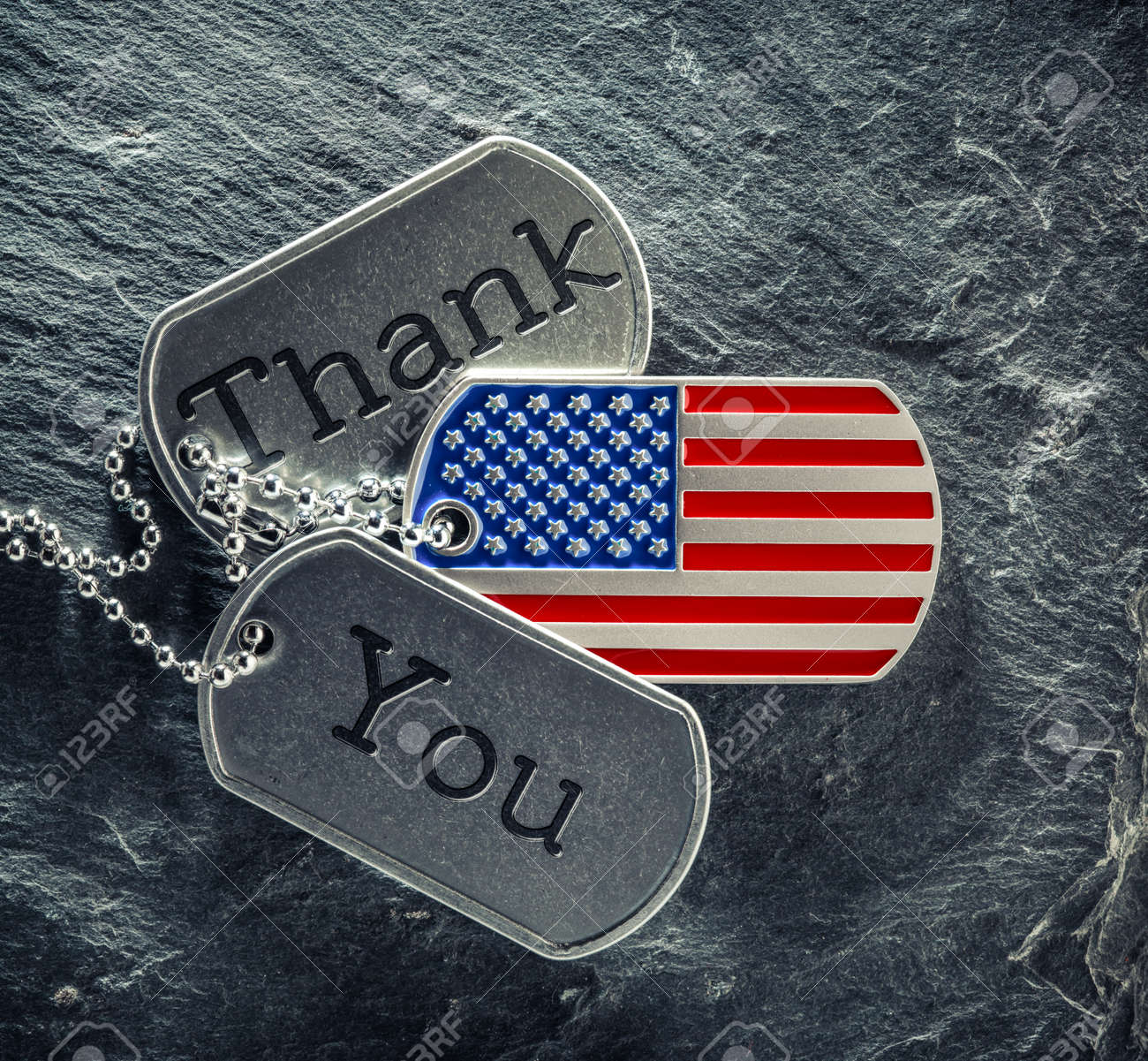 US military soldier's dog tags engraved with Thank You text and in the shape of the American flag. Memorial Day or Veterans Day concept. - 169060096