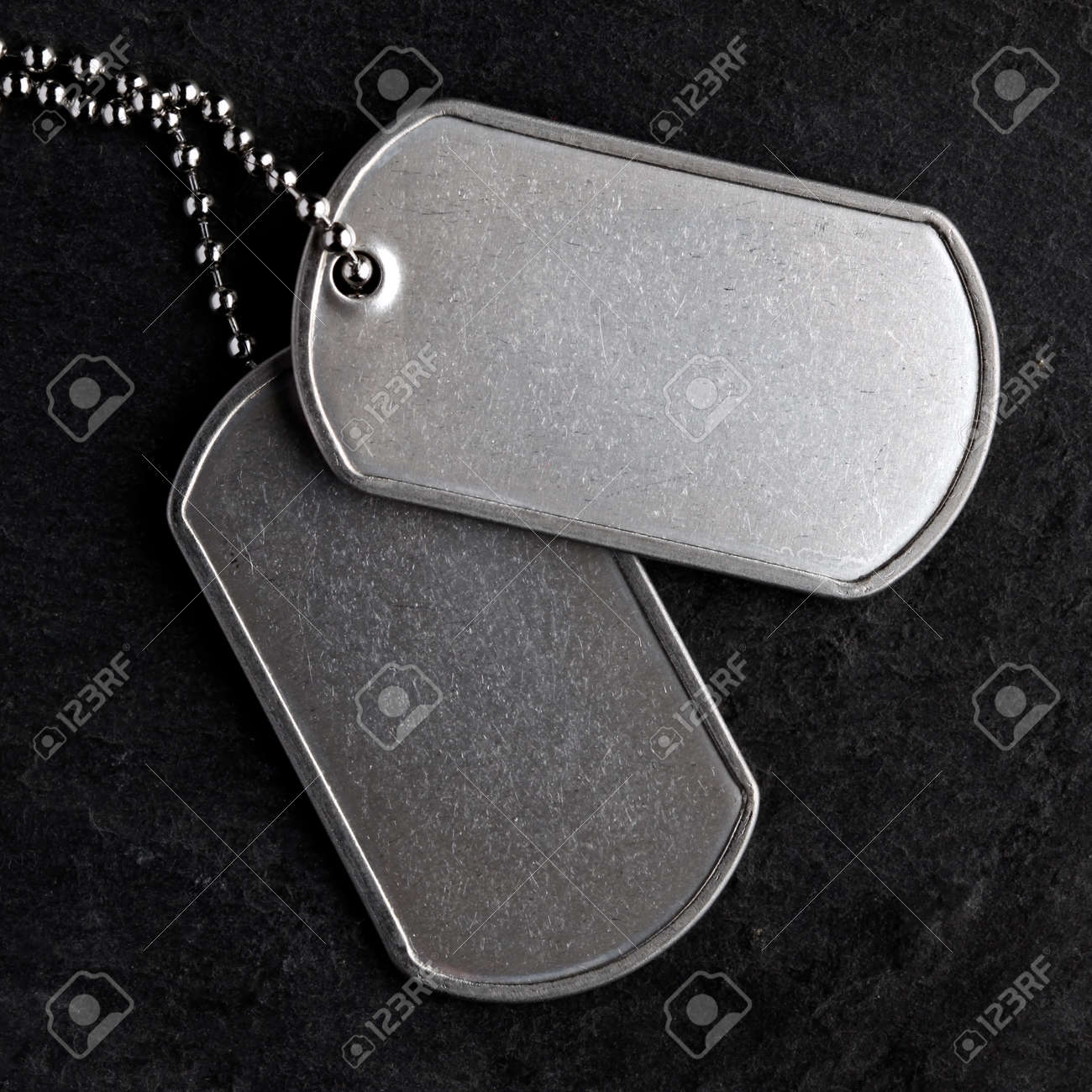 Old and worn military dog tags - Blank - 169060098