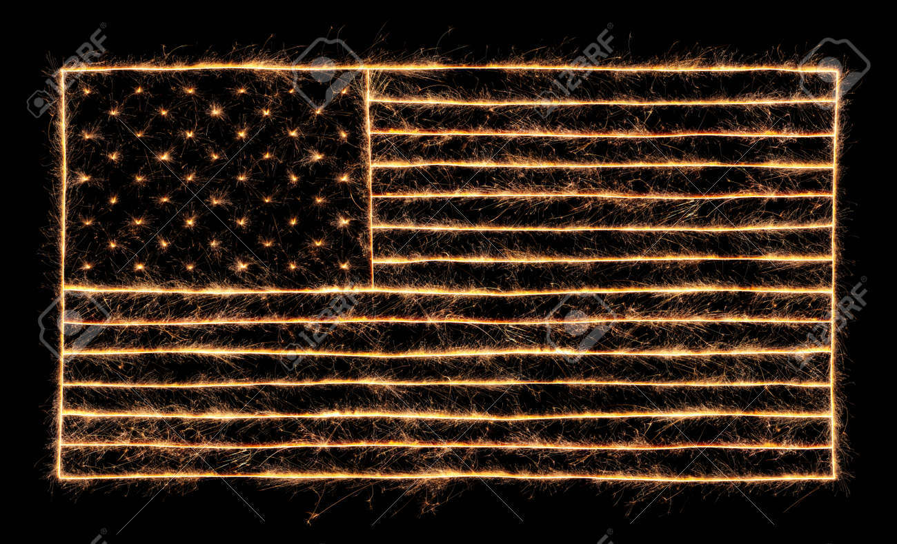 4th of July sparklers lit up in the shape of the American Flag - 170989052