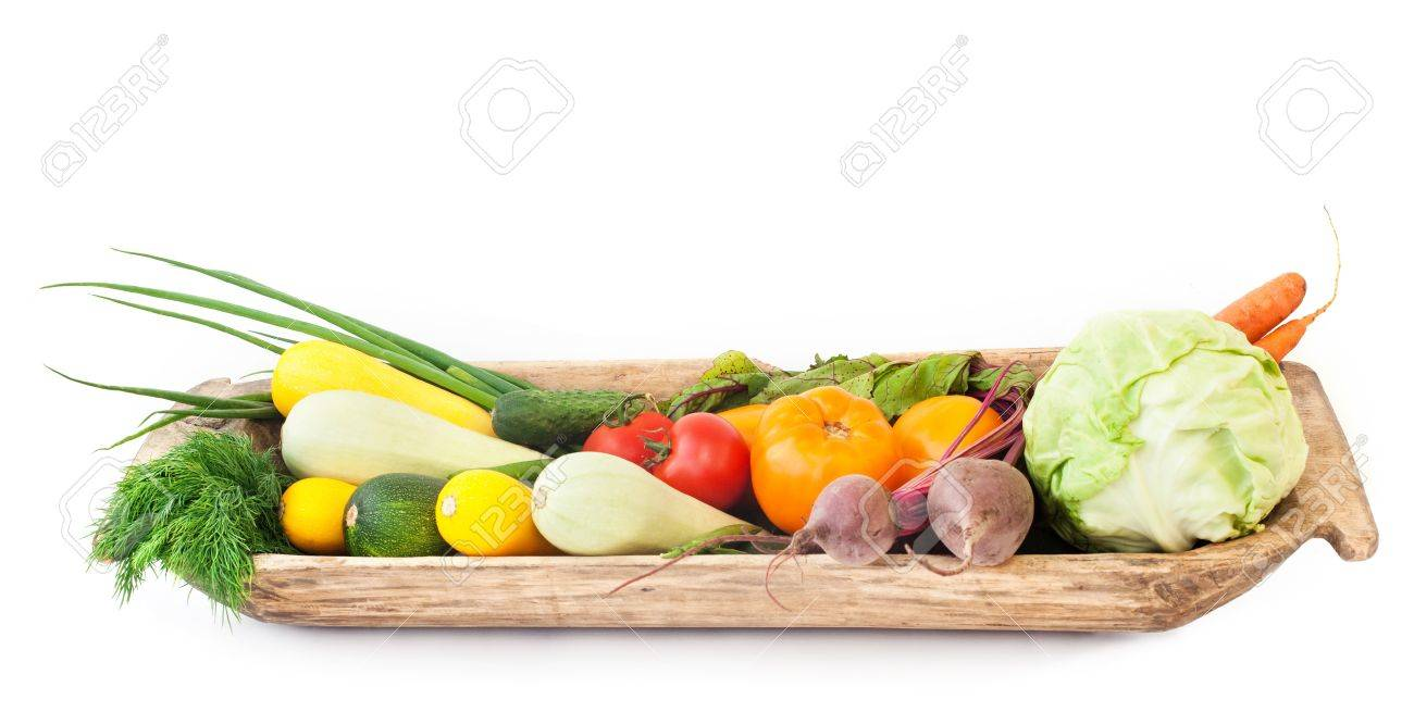 Assorted Vegetables in an old wooden platter Stock Photo - 14723900