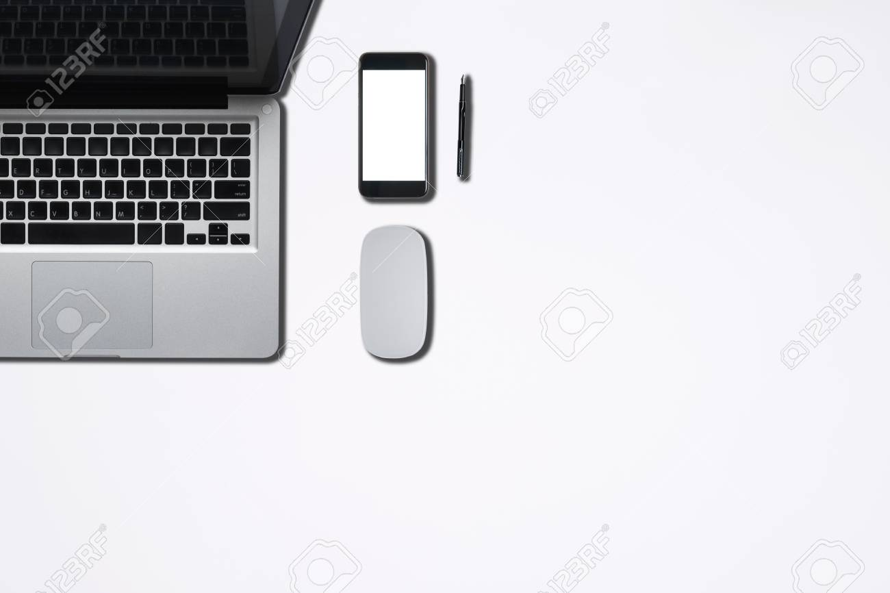Stock Photo   Top View Of Office Supply Or Hipster Desktop. Desk Work And  Stuff With Desk