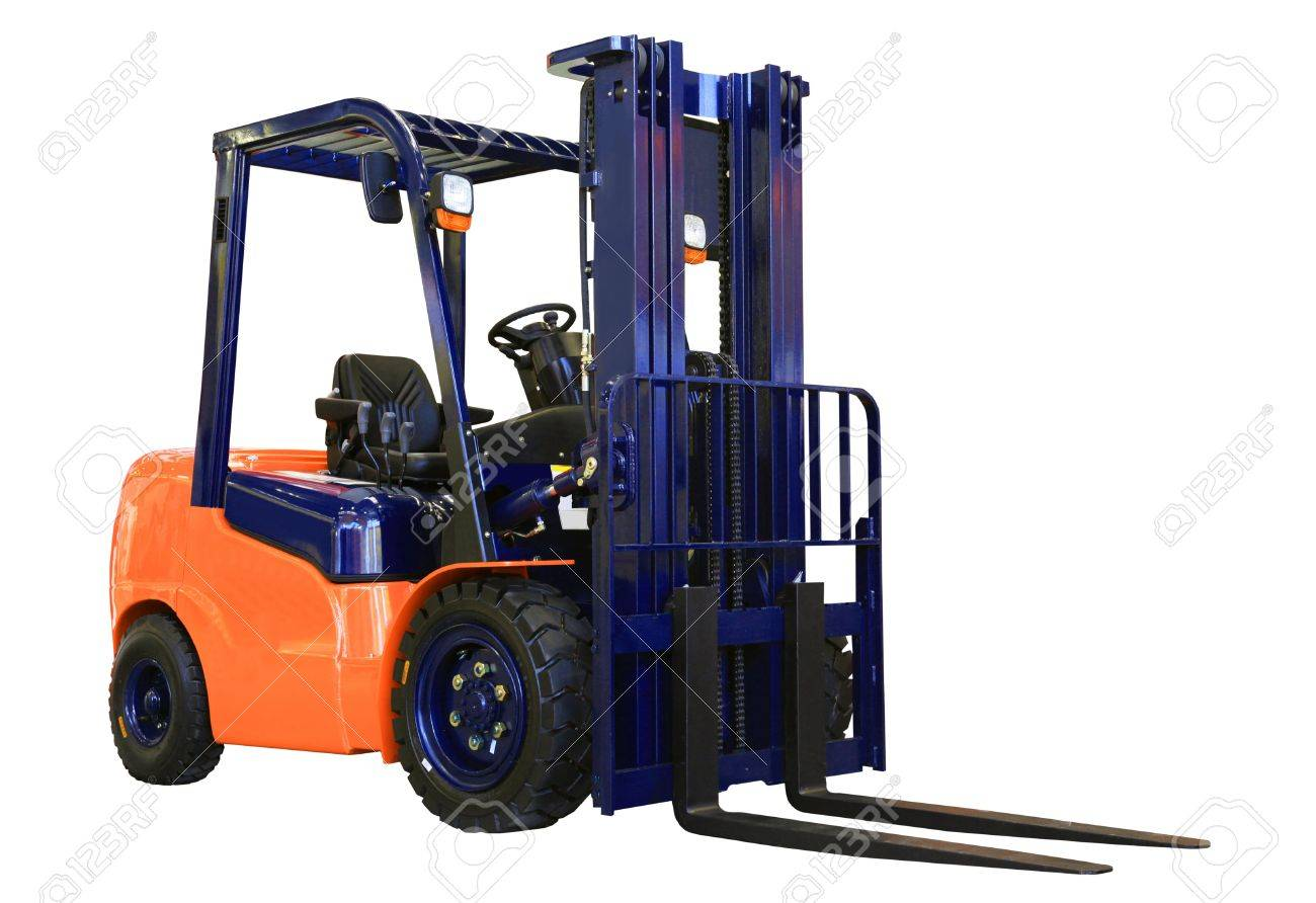 Forklift loader for warehouse works isolated on the white Stock Photo - 10389087
