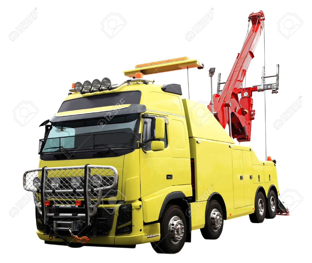 heavy duty wrecker used for towing semi trucks. Isolated on white Stock Photo - 10689477
