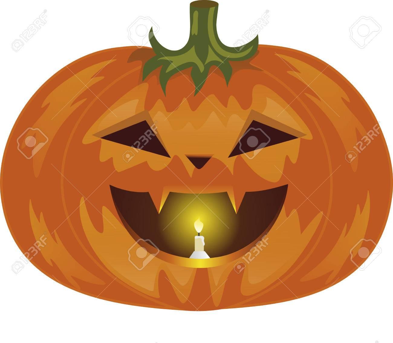 Bouche Citrouille Halloween.Citrouille A L Halloween Des Legumes De Couleur Orange Une Lampe De Citrouille Le Mal De Legumes Une Bougie Dans Une Bouche La Citrouille Avec Des Canines Une Tige De Fruit Vert Banque