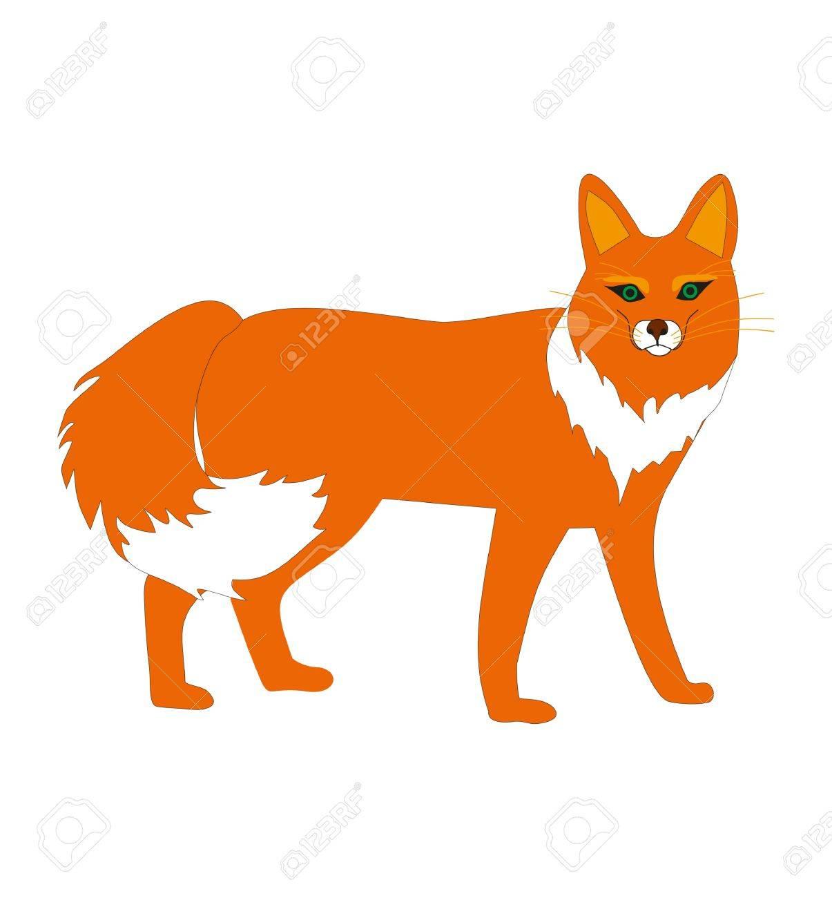 図ではオレンジ色動物のキツネ