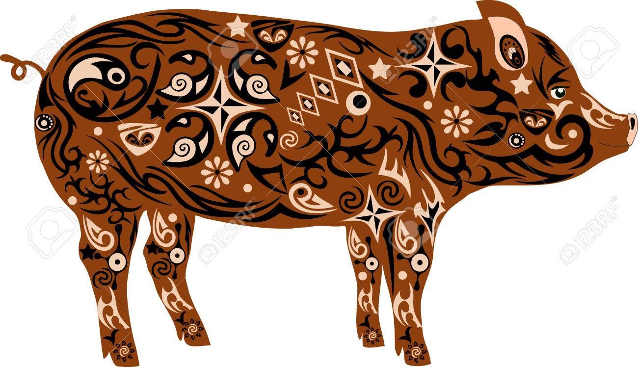 Schwein Mit Einem Muster Die Eine Illustration Eines Mumps Ein