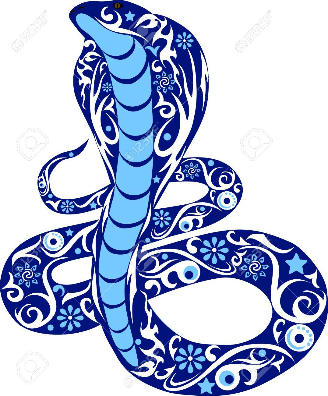 Dessin Cobra serpent avec le dessin, un cobra l'animal sauvage courbettes avec un
