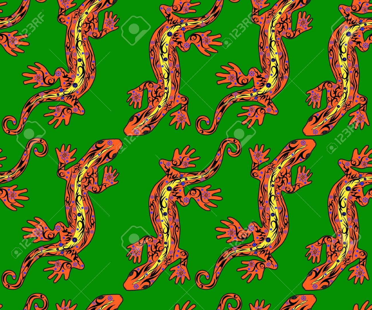 トカゲ パターン、シームレス パターンで爬虫類を描画する皮膚の花