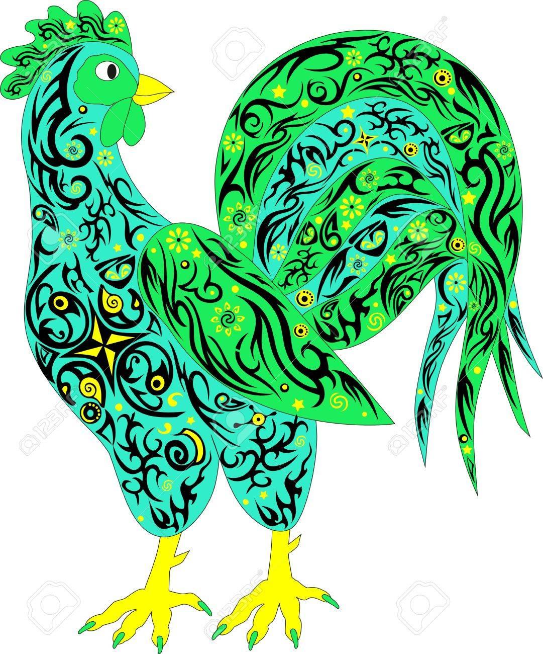 El Gallo Un Símbolo, Color De Pollo, Una Mascota, Un Animal Con Un ...